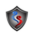 black shield emblem with element fire design vector image vector image
