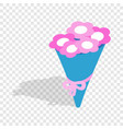bouquet of pink flowers isometric icon vector image vector image