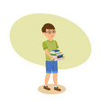 boy in glasses with literature go from library vector image vector image