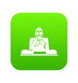 buddha statue icon digital green vector image