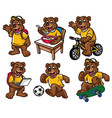 cartoon character set of cute little bear vector image vector image