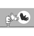 cartoon man making bird shadow with his hands vector image vector image
