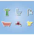 color icons with bathroom icons vector image