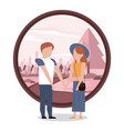 couple man and woman holding hands vector image vector image