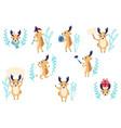 flat cute christmas reindeer characters set vector image vector image