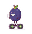 fruit plum character on gyroscooter vector image