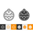 gingerbread cookie ball black line icon vector image vector image