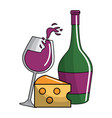 glass and bottle wine with cheese tasty vector image vector image