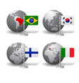 gray earth globes with designation brazil vector image vector image