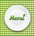 green checkered cloth and white plate vector image vector image