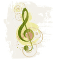 Grunge music background with treble clef vector image vector image