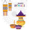 happy diwali festival lanterns diya lamps culture vector image vector image