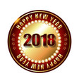 happy new year 2018 golden label and stamp with vector image vector image