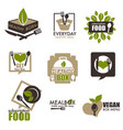 heathy food subscription service box icons vector image