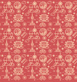 korea signs seamless pattern background on a red vector image vector image