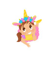 lovely girl in unicorn costume vector image vector image