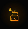 manual coffee grinder yellow line icon on dark vector image vector image