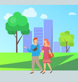 people walking in park dating couple vector image vector image