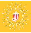 Popcorn ticket shining effect Flat design vector image vector image