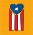 puerto rican flag with blue area forming a heart vector image