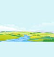 river in green valley summer landscape vector image vector image