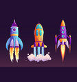rocket launch and fire flame spaceship startup vector image