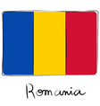 Romania flag doodle vector image