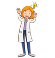 Scientist wearing lab gown vector image vector image