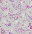 Seamless butterfly pattern in grey vector image