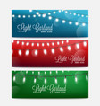 set bokeh backgrounds with garland lights vector image vector image