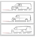 Set of delivery van silhouettes vector image vector image