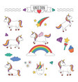 set unicorns with rainbow stars and diamonds vector image vector image