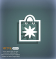 shopping bag icon symbol on the blue-green vector image