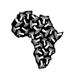 silhouette of black africa with baobabs silhouette vector image vector image