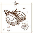 spa soap with flower scent wrapped in rope vector image vector image