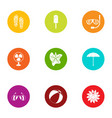summer day icons set flat style vector image vector image