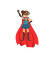 superhero girl character dressed in blue costume vector image