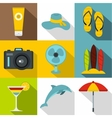 Trip to sea icons set flat style vector image vector image