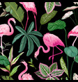 tropical print with pink flamingo and palm leaves vector image vector image
