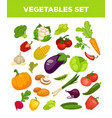Vegetables and veggies vegetarian icons set