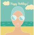 Woman in swimming cap holiday card vector image vector image