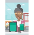 Woman looking at digital tablet and smartphone vector image vector image