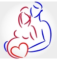 Young family are awaiting for childbirth symbol