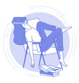 young woman sleeping with open book student vector image