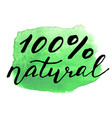 eco bio sign on watercolor stain natural organic vector image