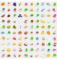 100 vegan icons set isometric 3d style vector image vector image