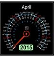2015 year calendar speedometer car in April vector image