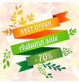best offer autumn sale concept background cartoon vector image
