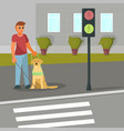 blind man with guide dog vector image