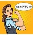 Business woman hand gesture pop art style vector image vector image